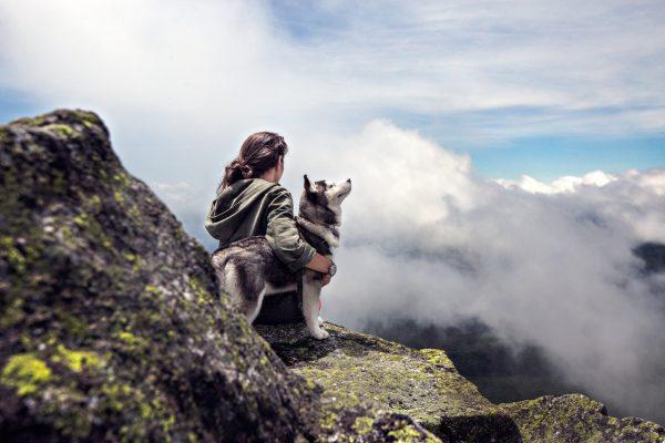 mit dem hund in den Bergen